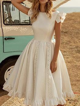 White Color Party Elegant Short Sleeve Dress