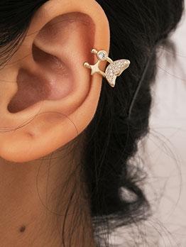Golden Simple Butterfly Street Earrings