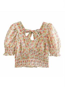 Summer Sweet Pleated Women Short Blouse