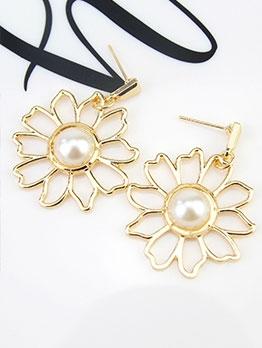 Trendy Flower Faux-Pearl Elegant Earrings
