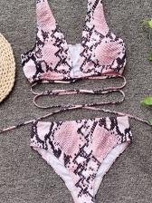 Sexy Tie-Wrap High Waist Snake Print Bikinis