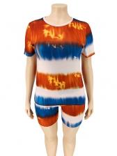 Plus Size Mixed Color Tie Dye Two Piece Shorts Set