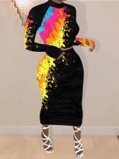 Graffiti Print Long Sleeve Two Piece Skirt Set