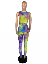 Tie Dye Sleeveless Stacked Pants Two Piece Outfits