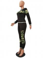 Leopard Patchwork Long Sleeve Two Piece Pants Set