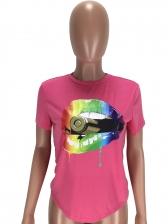 Pride Lips Print Short Sleeve T Shirts For Women