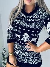 Christmas Printed Long Sleeve Sweater Dress