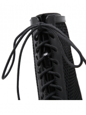 Gauze Patchwork Lace Up High Heel Black Boots