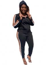 Side Leopard Hooded Collar Women Trouser Set