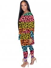 Contrast Color Leopard Print Two Pieces Pants Set