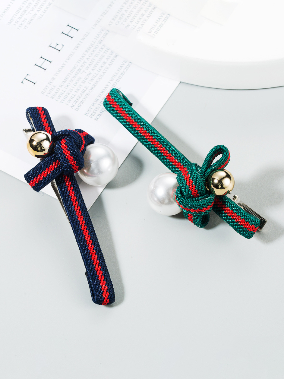 Faux-Pearl Contrast Color Striped Hair Accessories
