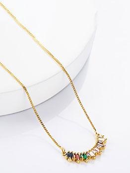 Semicircle Design Zircon Necklace For Women