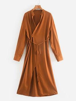 Autumn Solid Long Sleeve Maxi Dress