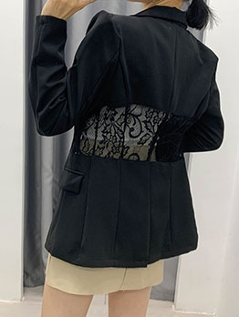 Casual Lace Patchwork Ladies Blazer