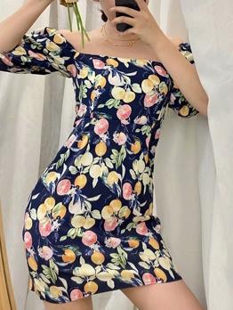 Retro Square Neck Printed Summer Dresses