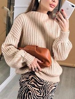 Vintage Solid Color Long Sleeve Ladies Sweater