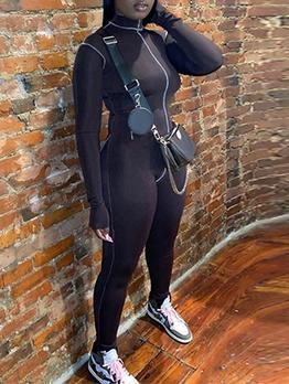 Pure Color Sport Fitness Jumpsuit For Women