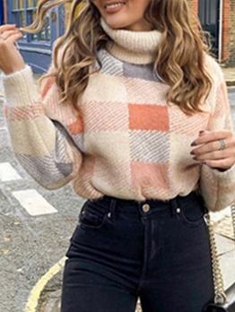 Color Block Long Sleeve Turtleneck Sweater