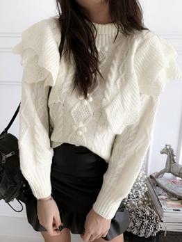 Elegant High Collar Ruffled Sweaters For Women