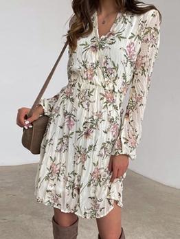 V Neck Floral Women Long Sleeve Dress