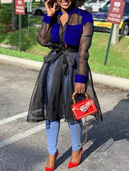 Contrast Color Stand Collar Zipper Gauze Long Coat