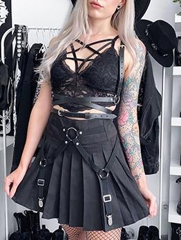 Punk Style High Waist Pleated Skirt