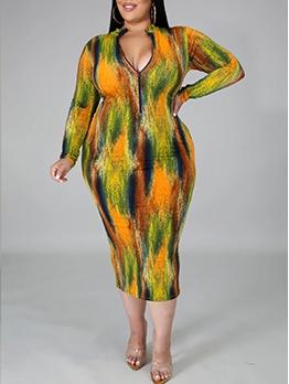 Fashion Tie Dye Long Sleeve Plus Size Dresses