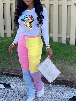 Print Top Contrast Color Women Pant Set