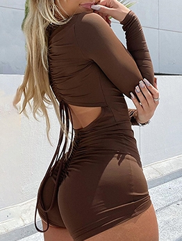Hollow Out Drawstring Drape Zipper Long Sleeve Romper
