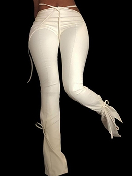 Chic Design Split Hem Skinny Leather Pants