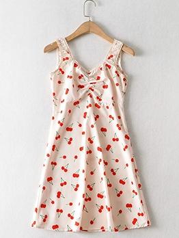 Cherry Print Maiden Sweet Sleeveless Dress