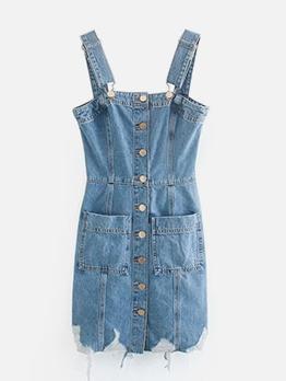 Preppy Style Casual Denim Dresses