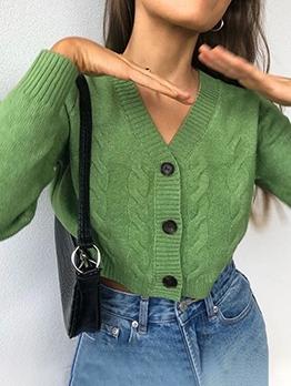V Neck Twist Knitting Cardigan Coat