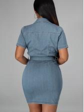 Solid Turndown Collar Short Sleeve Denim Dress