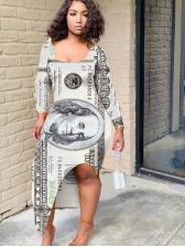Dollar Print Split Long Sleeve Maxi Dress