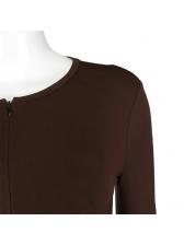 Hollow Out Drawstring Drape Zipper Long Sleeve Romper
