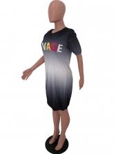 Letter Print Gradient Color Short Sleeve Casual Dresses
