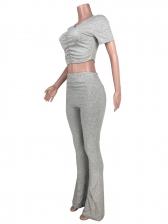 Mini Pleated Skinny Flare Pants Set