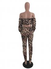 Leopard Print Boat Neck Women Trouser Set