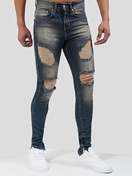 Fashion Zipper Hem Skinny Ripped Jeans