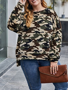Camouflage Print Long Sleeve Women Sweatshirt