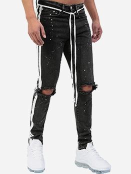Fashion Side Stripe Skinny Distressed Jeans