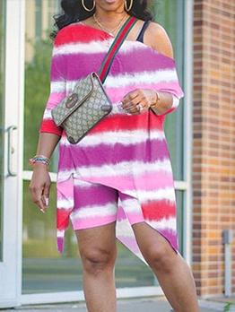 Inclined Shoulder Contrast Color Women Trouser Set