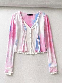 Fashion Tie Dye Long Sleeve Cardigan