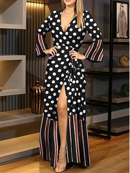 Tie Wrap V Neck Print Maxi Dresses