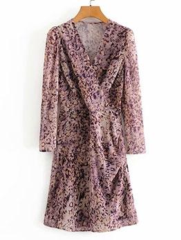 Fashion v Neck Printed Casual Dresses