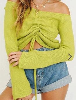 Off Shoulder Drawstring Long Sleeve Sweater