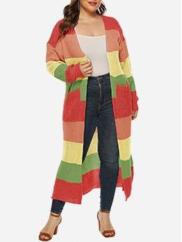 Contrast Color Fashion Long Cardigan Coat
