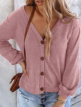 V Neck Single-Breasted Long Sleeve Womens Cardigan