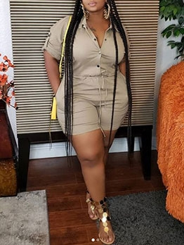 Casual Button Up Short Sleeve Plus Size Rompers